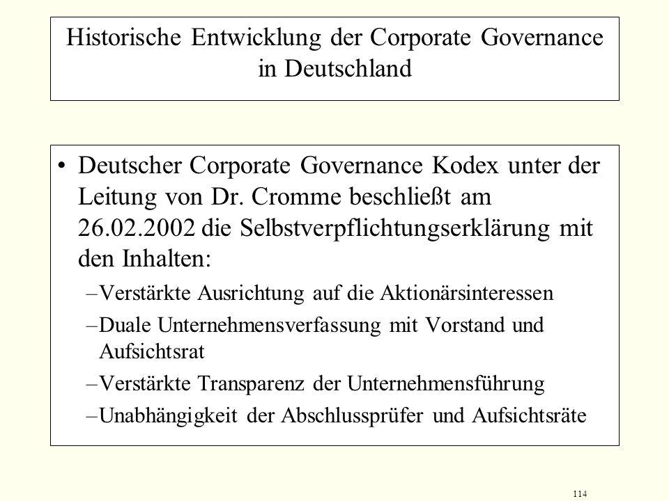 113 Historische Entwicklung der Corporate Governance in Deutschland Regierungskommission Corporate Governance vom 10.07.2001 stellt unter der Leitung