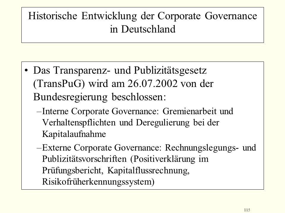 114 Historische Entwicklung der Corporate Governance in Deutschland Deutscher Corporate Governance Kodex unter der Leitung von Dr. Cromme beschließt a
