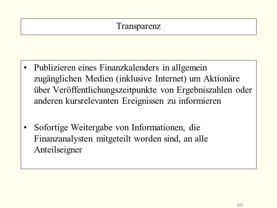 124 Transparenz Quartalsberichterstattung, in welchen zum einen über die Unternehmensplanung und zum anderen Angaben zur bisherigen Umsetzung der Plan