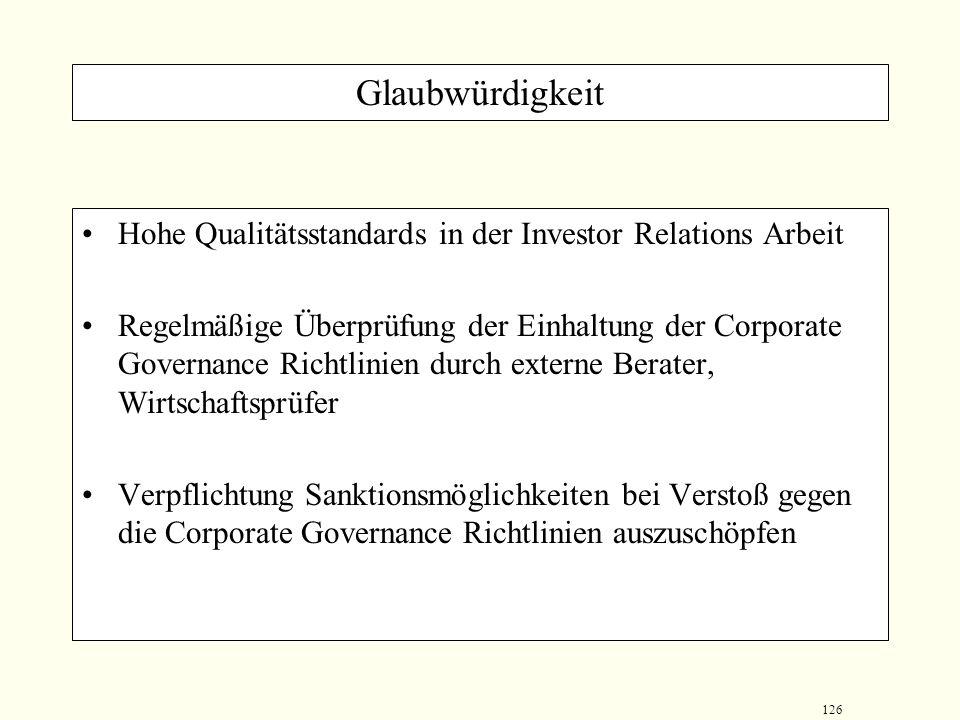 125 Transparenz Publizieren eines Finanzkalenders in allgemein zugänglichen Medien (inklusive Internet) um Aktionäre über Veröffentlichungszeitpunkte