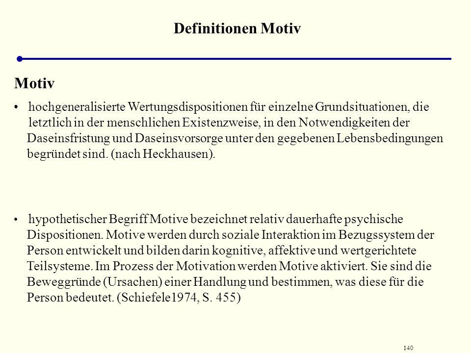 139 Definitionen Motiv Motiv  macht Aussagen etwa darüber, dass Personen sich in den allgemeinen Erwartungen über der Erfolg und Mißerfolg ihrer Hand