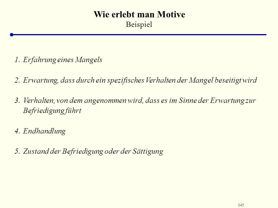 144 Die Pyramide der Motive Quelle: von Rosenstiel, 1995 Selbst- verwirk- lichung Ich-Motive (Anerkenn- ung, Status, Prestige, Achtung) Soziale-Motive