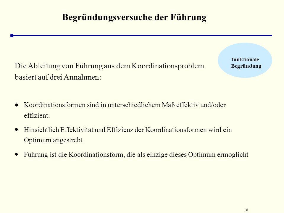 17 Begründungsversuche der Führung funktionale Begründung Koordinationsbedarf durch zwei Formen der Handlungskoordination gedeckt werden  Kooperation