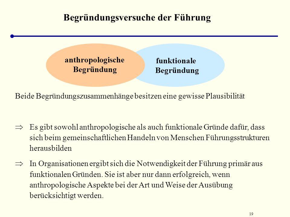 18 Begründungsversuche der Führung funktionale Begründung Die Ableitung von Führung aus dem Koordinationsproblem basiert auf drei Annahmen:  Koordina