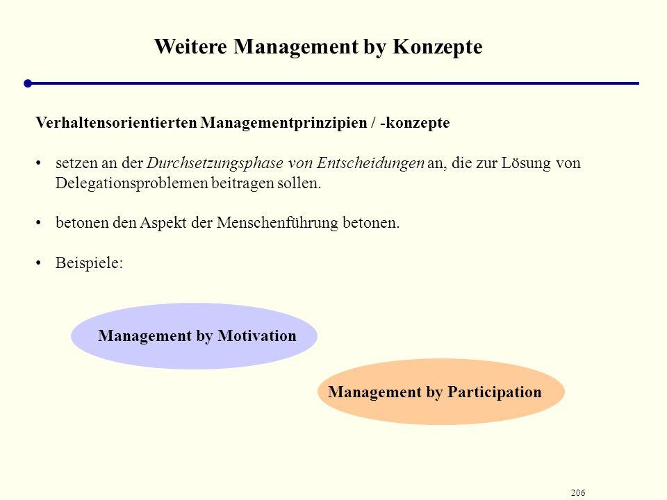 205 Weitere Management by Konzepte Management ‑ by ‑ Konzepten, die an der Zielbildungsphase von Entscheidungsprozessen orientiert sind, zählen z. B.