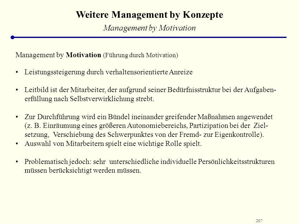 206 Weitere Management by Konzepte Verhaltensorientierten Managementprinzipien / ‑ konzepte setzen an der Durchsetzungsphase von Entscheidungen an, di