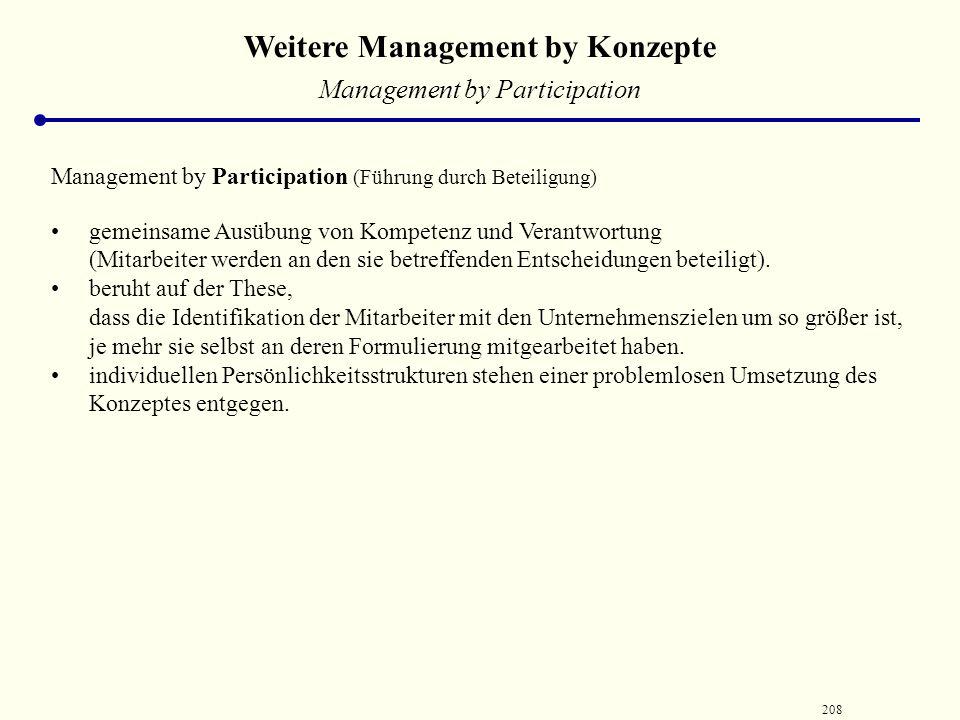 207 Weitere Management by Konzepte Management by Motivation Management by Motivation (Führung durch Motivation) Leistungssteigerung durch verhaltensor