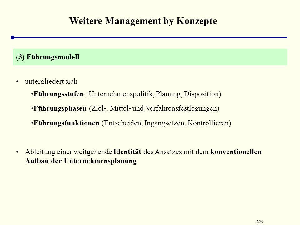 219 Weitere Management by Konzepte übernimmt die Dimensionen des Unternehmensmodells und versucht sie zweckmäßig zu gliedern =>gewisse Präferenz für M