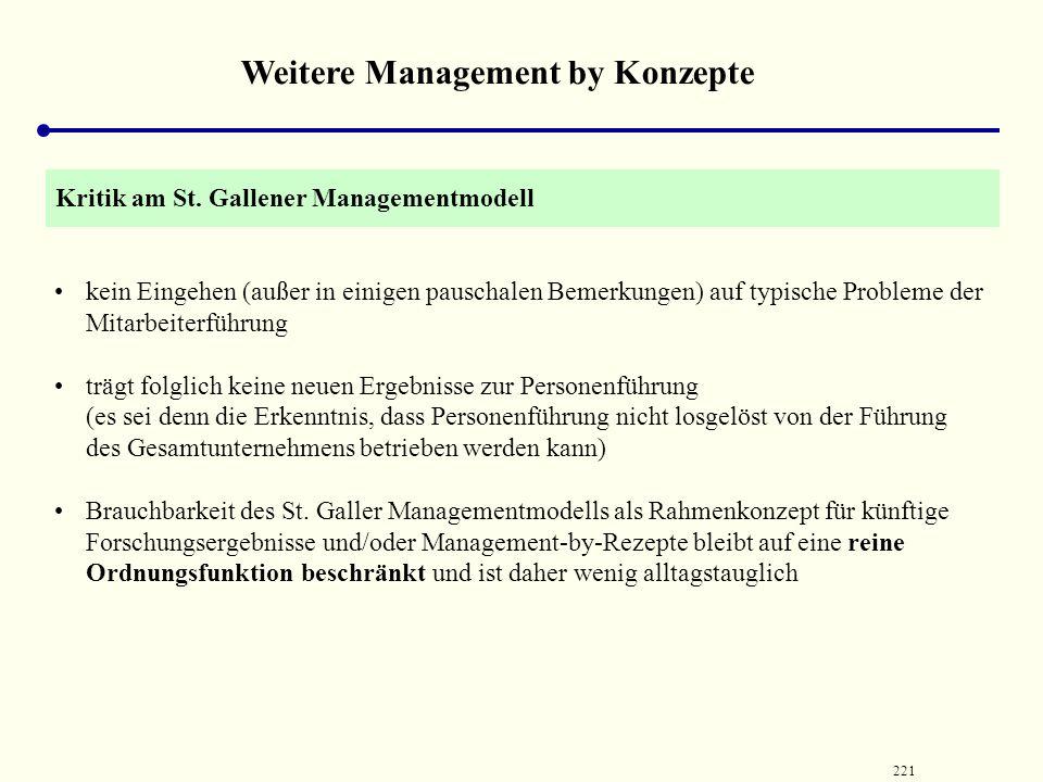 220 Weitere Management by Konzepte untergliedert sich Führungsstufen (Unternehmenspolitik, Planung, Disposition) Führungsphasen (Ziel ‑, Mittel ‑ und