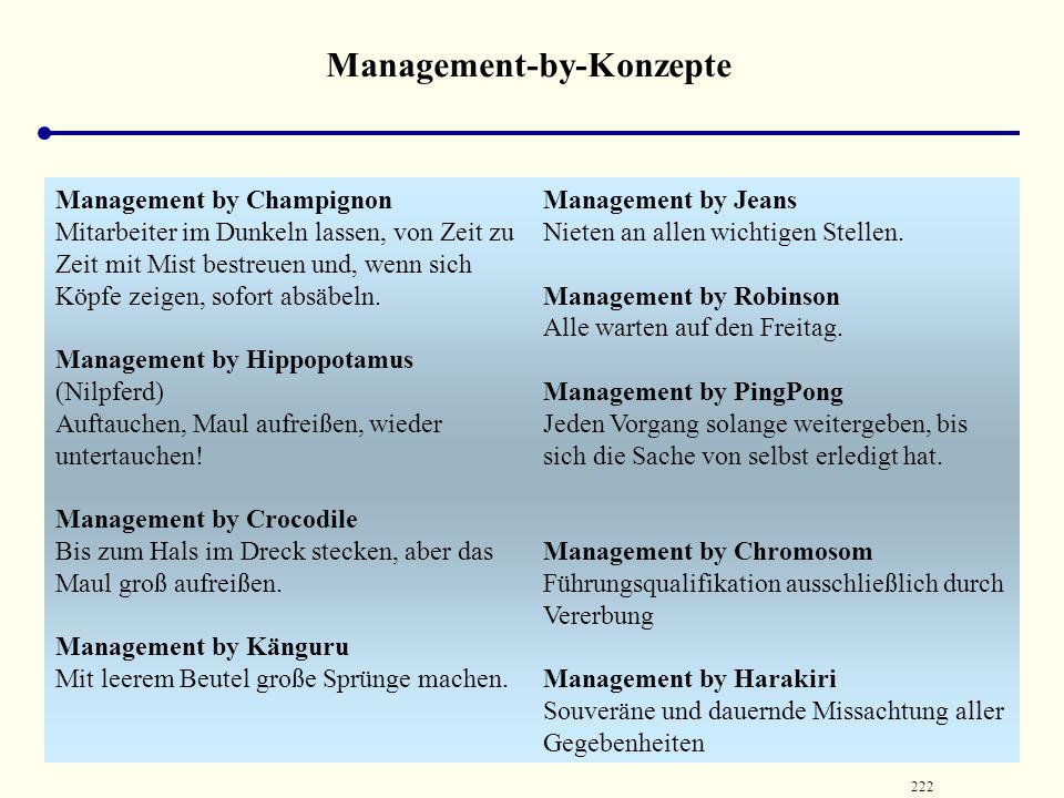 221 Weitere Management by Konzepte kein Eingehen (außer in einigen pauschalen Bemerkungen) auf typische Probleme der Mitarbeiterführung trägt folglich