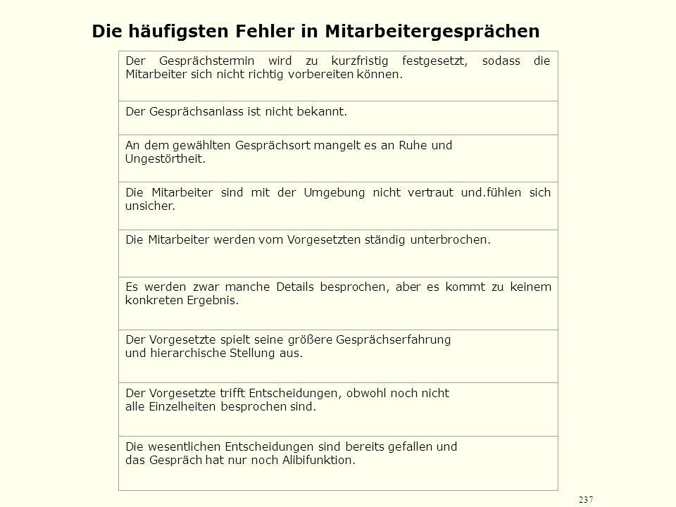 236 Führungsinstrumente Merkmale: zumeist Vier-Augen-Gespräche In Einzelfällen (z. B. bei Gesprächen mit disziplinarischem Inhalt) weitere Person (z.