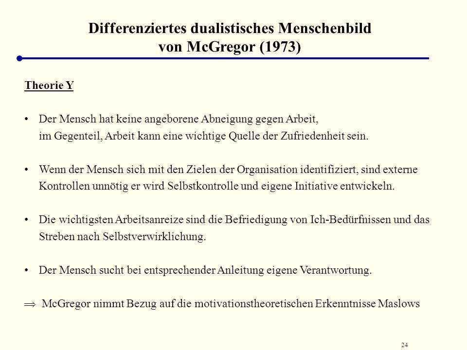 23 Differenziertes dualistisches Menschenbild von McGregor (1973) weist mit Theorie X und Theorie Y auf die Konsequenzen zweier extrem unterschiedlich