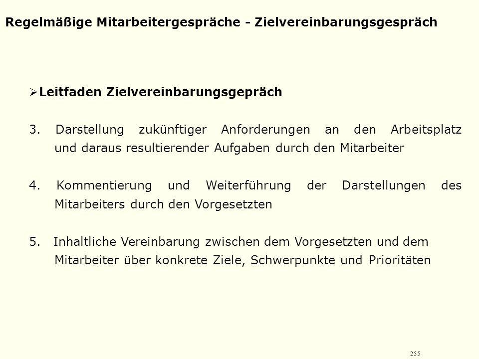 254 Regelmäßige Mitarbeitergespräche - Zielvereinbarungsgespräch  Leitfaden Zielvereinbarungsgepräch 1. Gesprächseröffnung  Anlass des Gesprächs klä