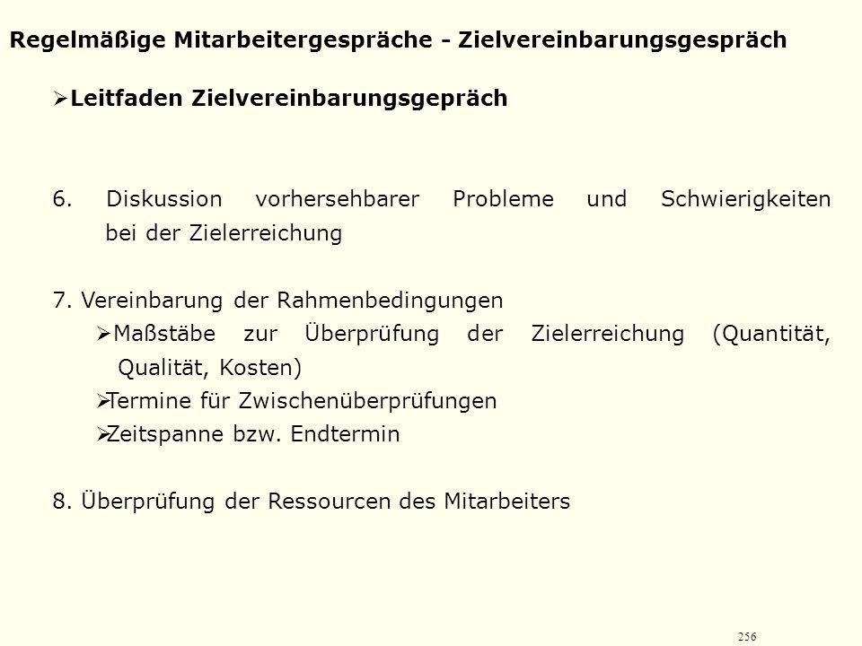 255 Regelmäßige Mitarbeitergespräche - Zielvereinbarungsgespräch  Leitfaden Zielvereinbarungsgepräch 3. Darstellung zukünftiger Anforderungen an den