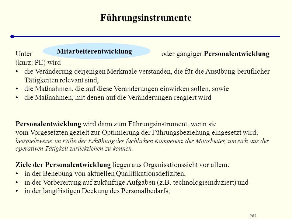 282 Führungsinstrumente Vorgesetzten- beurteilung Bertelsmann AGBMW AGLG StuttgartBeiersdorf AG Ersteinsatzjahr 1975198319921994 Durchführung jährlich