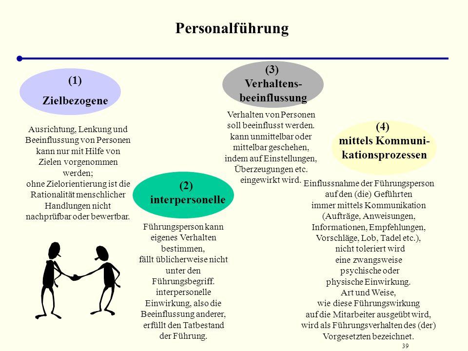 38 Führung i.w.S. Beeinflussung, Steuerung und Lenkung ganzer Institutionen oder Systeme (z. B. Unternehmen) i.e.S. Beeinflussung von Personen oder Mi