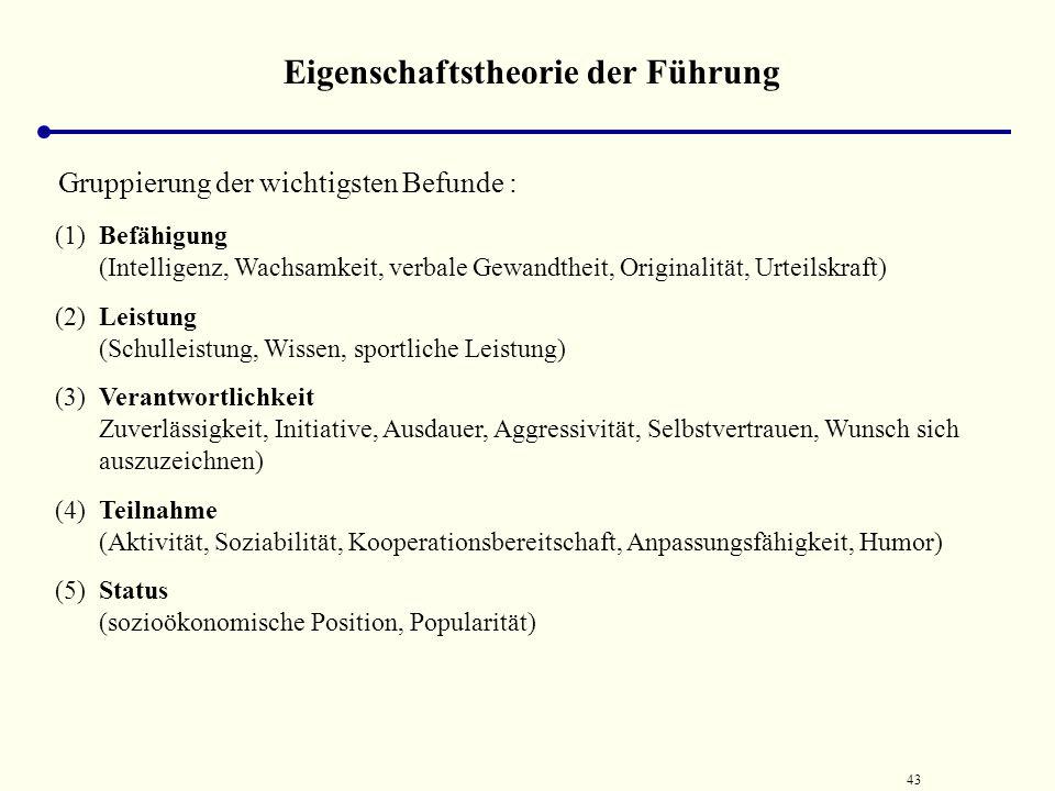 42 Eigenschaftstheorie der Führung Zusammenfassung von empirischen Analysen zum Auffinden von Führungseigenschaften verschiedenen Überblicksartikeln,