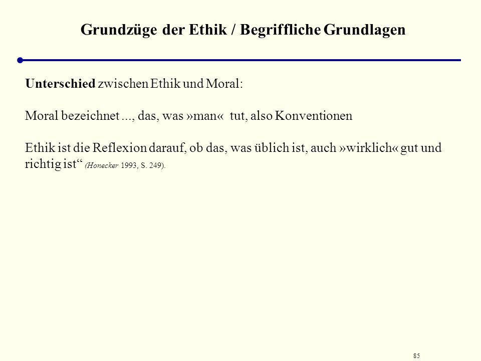 84 Grundzüge der Ethik / Begriffliche Grundlagen Abgrenzung des Begriffs Ethik gegenüber Moral und Sittlichkeit Moral (lateinisch mos = Sitte) bezeich