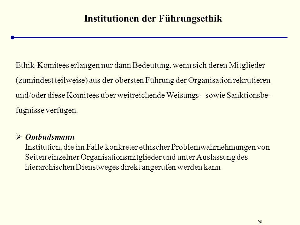 """97 Institutionen der Führungsethik Ethikkomitee (engl. Ethics Committee): Institution, deren Aufgabe darin besteht, das """"ethische Programm"""