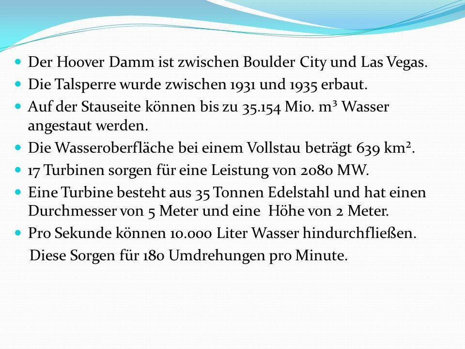 Der Hoover Damm ist zwischen Boulder City und Las Vegas.