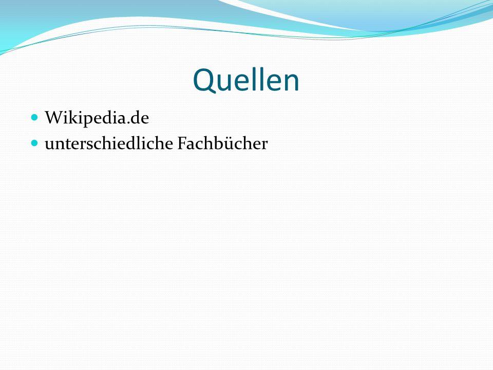 Quellen Wikipedia.de unterschiedliche Fachbücher