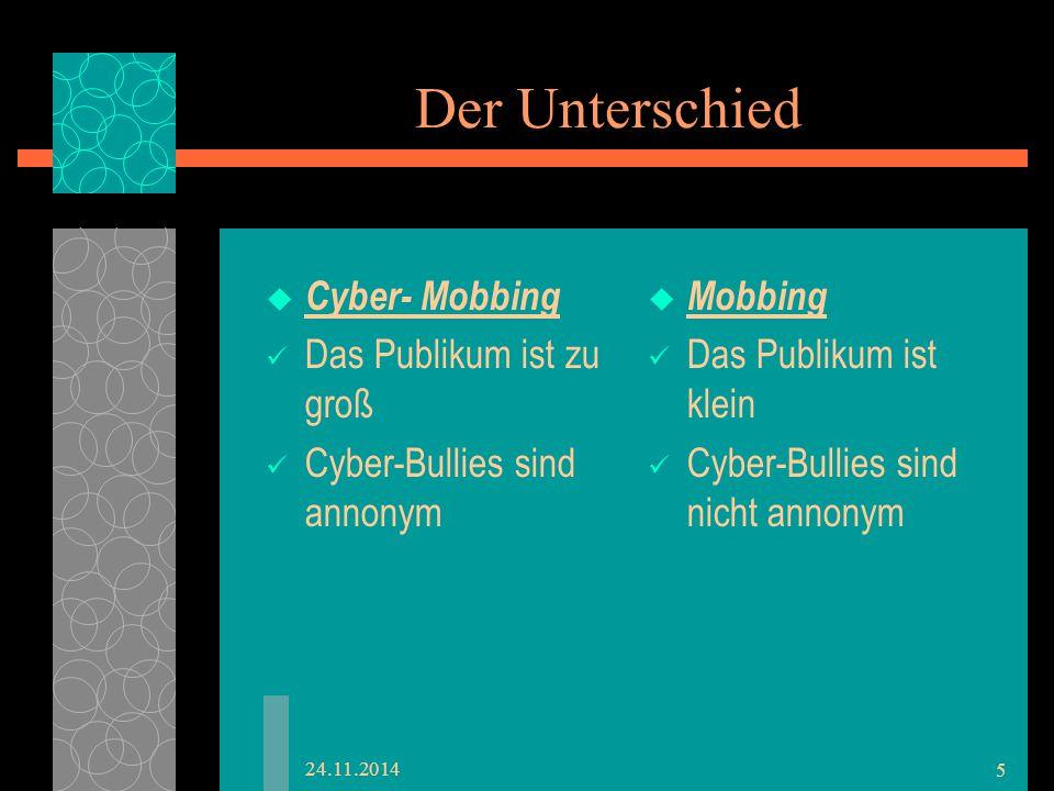 Der Unterschied  Cyber- Mobbing Das Publikum ist zu groß Cyber-Bullies sind annonym  Mobbing Das Publikum ist klein Cyber-Bullies sind nicht annonym 24.11.2014 5