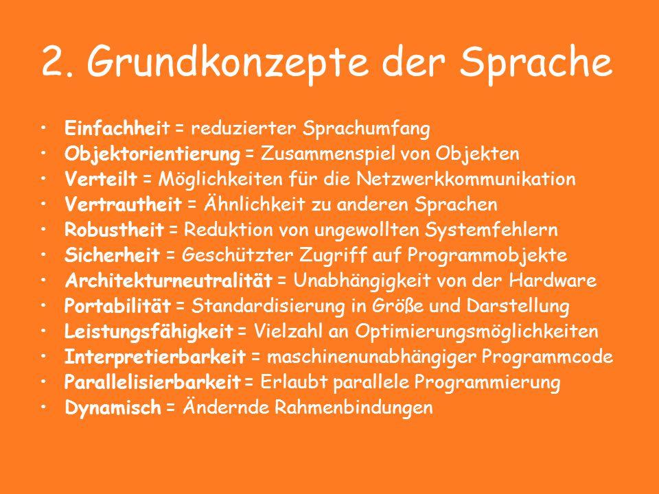 2. Grundkonzepte der Sprache Einfachheit = reduzierter Sprachumfang Objektorientierung = Zusammenspiel von Objekten Verteilt = Möglichkeiten für die N