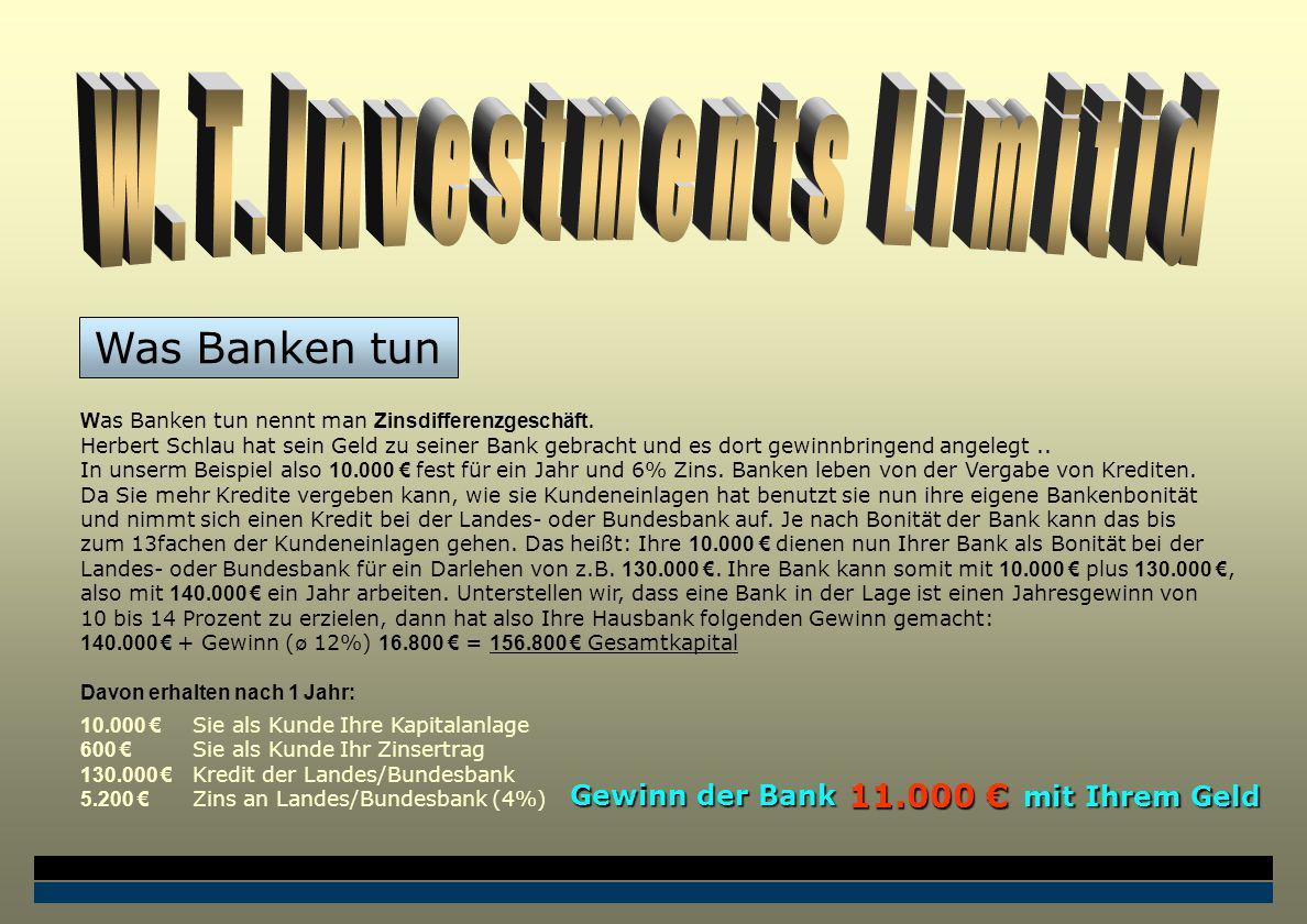 W as Banken tun nennt man Zinsdifferenzgeschäft.