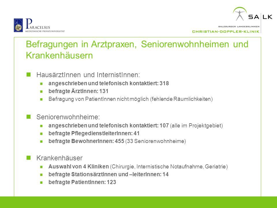 Befragungen in Arztpraxen, Seniorenwohnheimen und Krankenhäusern HausärztInnen und InternistInnen: angeschrieben und telefonisch kontaktiert: 318 befr