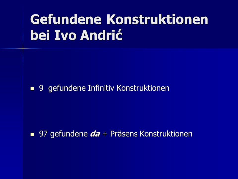 """Ivo Andrić – ein """"dakavac Bezüglich unserer zu behandelten Texte von Ivo Andrić sollte an dieser Stelle noch gesagt werden, dass es in der damaligen serbokroatischen Schriftsprache vor allem kroatische Autoren waren, die die Infinitiv Konstruktion eingeführt haben."""