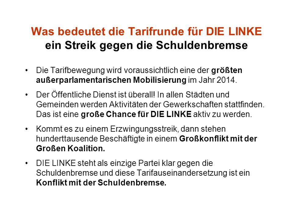 Was bedeutet die Tarifrunde für DIE LINKE ein Streik gegen die Schuldenbremse Die Tarifbewegung wird voraussichtlich eine der größten außerparlamentarischen Mobilisierung im Jahr 2014.