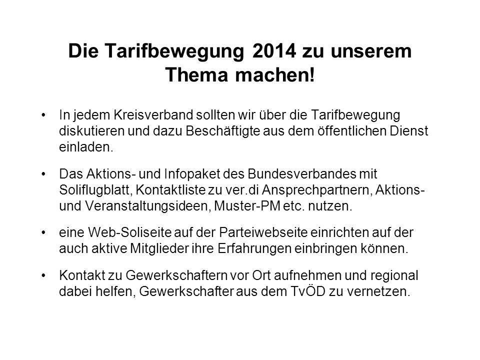 Die Tarifbewegung 2014 zu unserem Thema machen.
