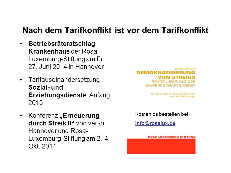 Nach dem Tarifkonflikt ist vor dem Tarifkonflikt Betriebsräteratschlag Krankenhaus der Rosa- Luxemburg-Stiftung am Fr.