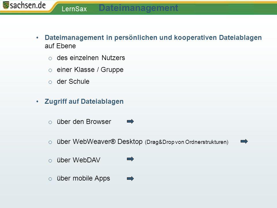 Dateimanagement in persönlichen und kooperativen Dateiablagen auf Ebene o des einzelnen Nutzers o einer Klasse / Gruppe o der Schule Zugriff auf Datei