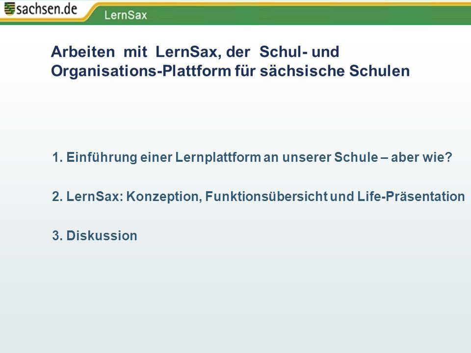 Arbeiten mit LernSax, der Schul- und Organisations-Plattform für sächsische Schulen 1. Einführung einer Lernplattform an unserer Schule – aber wie? 2