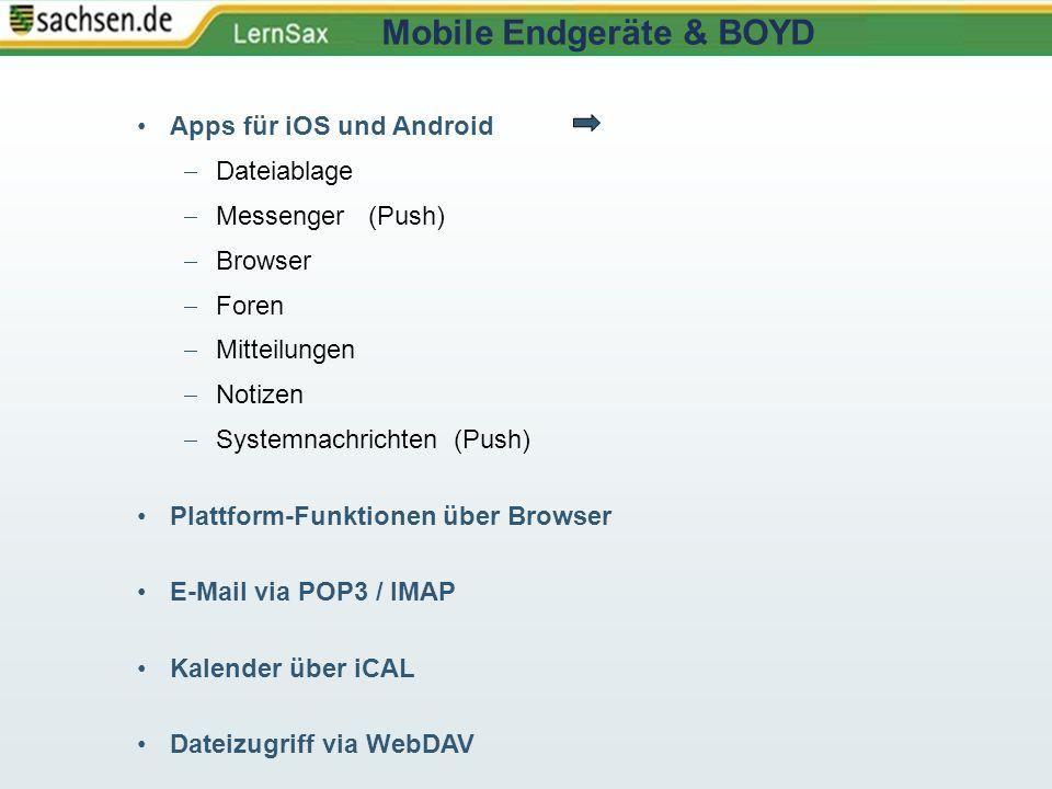 Apps für iOS und Android  Dateiablage  Messenger (Push)  Browser  Foren  Mitteilungen  Notizen  Systemnachrichten (Push) Plattform-Funktionen ü