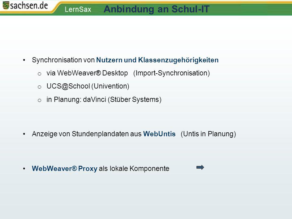 Synchronisation von Nutzern und Klassenzugehörigkeiten o via WebWeaver® Desktop (Import-Synchronisation) o UCS@School (Univention) o in Planung: daVin