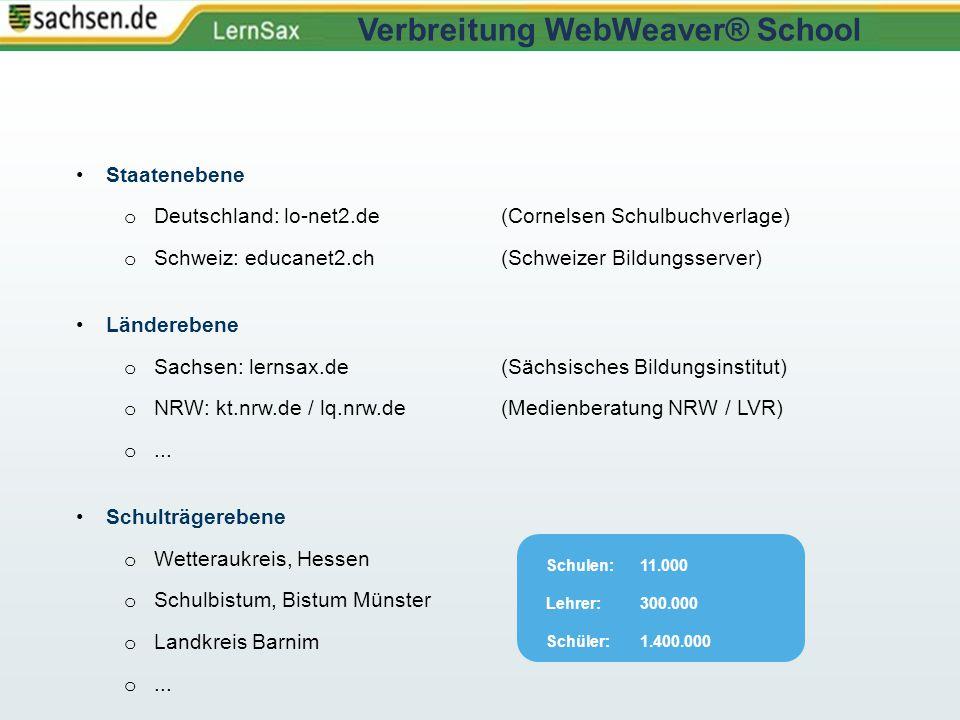Staatenebene o Deutschland: lo-net2.de (Cornelsen Schulbuchverlage) o Schweiz: educanet2.ch(Schweizer Bildungsserver) Länderebene o Sachsen: lernsax.d
