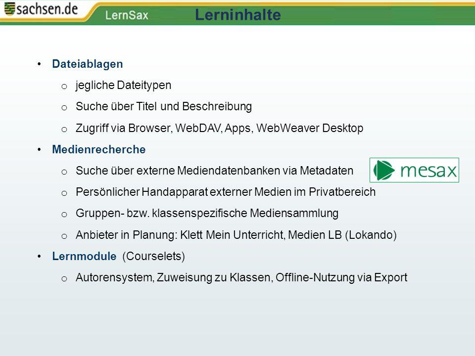 Dateiablagen o jegliche Dateitypen o Suche über Titel und Beschreibung o Zugriff via Browser, WebDAV, Apps, WebWeaver Desktop Medienrecherche o Suche