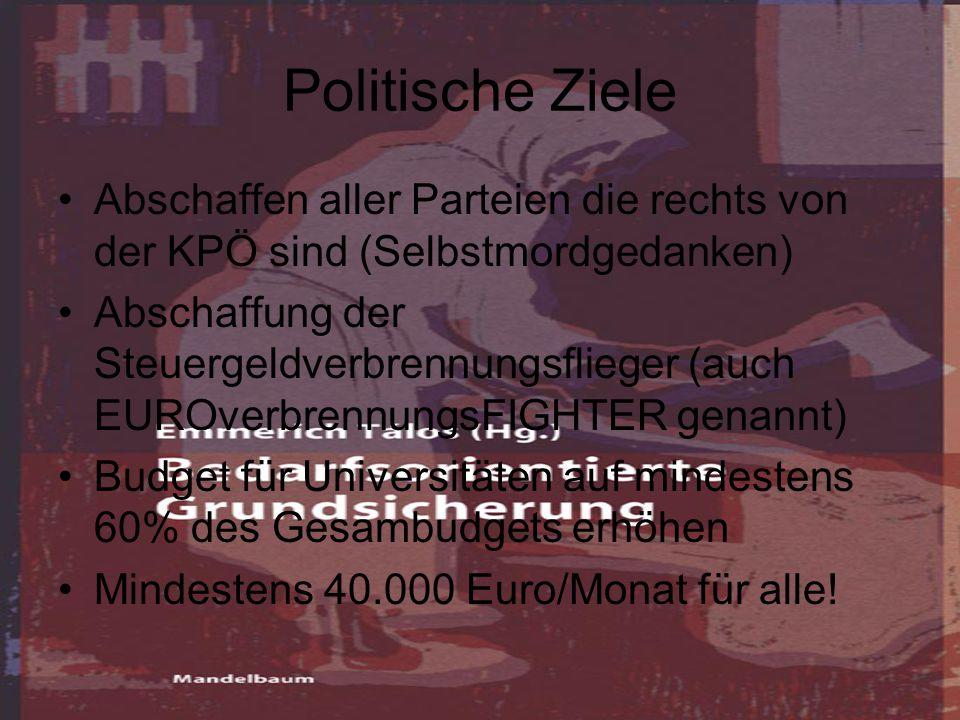 Politische Ziele Abschaffen aller Parteien die rechts von der KPÖ sind (Selbstmordgedanken) Abschaffung der Steuergeldverbrennungsflieger (auch EUROverbrennungsFIGHTER genannt) Budget für Universitäten auf mindestens 60% des Gesambudgets erhöhen Mindestens 40.000 Euro/Monat für alle!