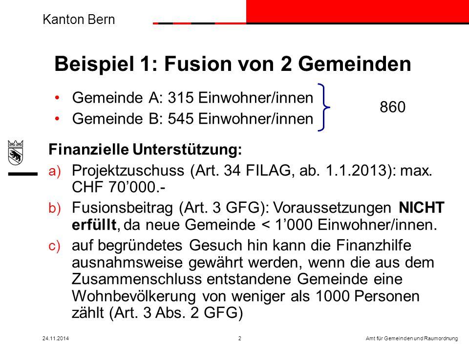 Kanton Bern Amt für Gemeinden und Raumordnung24.11.20142 Gemeinde A: 315 Einwohner/innen Gemeinde B: 545 Einwohner/innen Beispiel 1: Fusion von 2 Gemeinden Finanzielle Unterstützung: a) Projektzuschuss (Art.