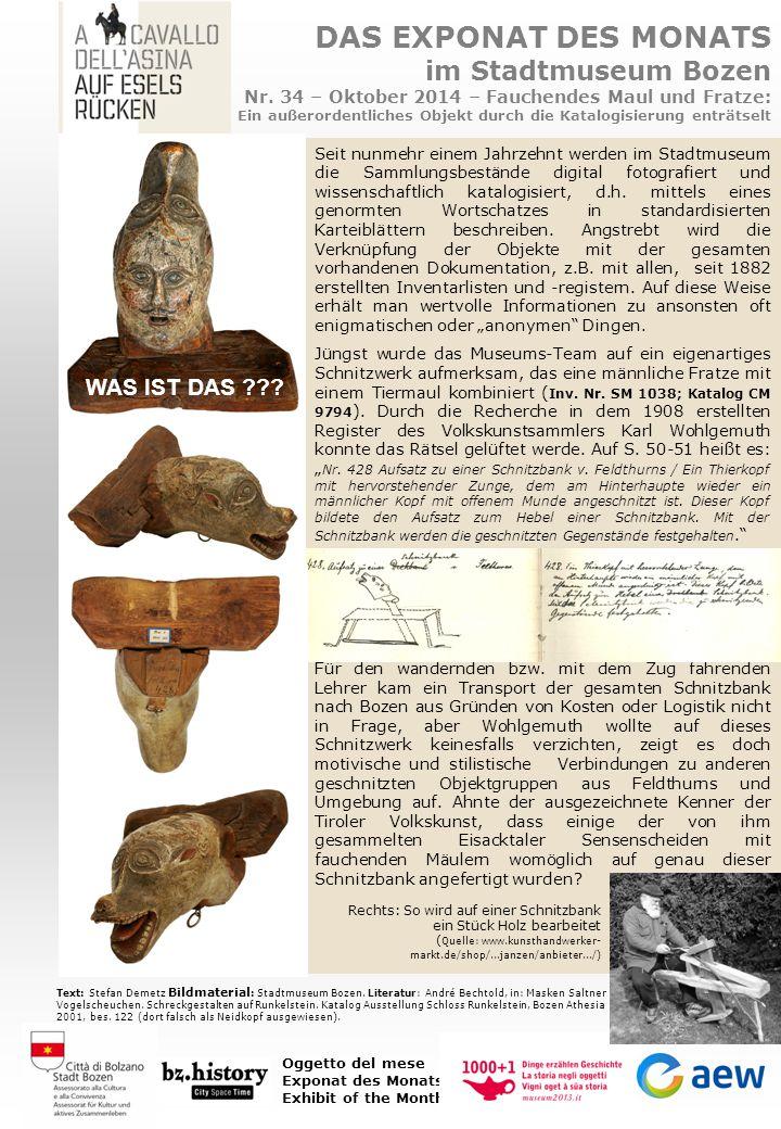DAS EXPONAT DES MONATS im Stadtmuseum Bozen Nr. 34 – Oktober 2014 – Fauchendes Maul und Fratze: Ein außerordentliches Objekt durch die Katalogisierung