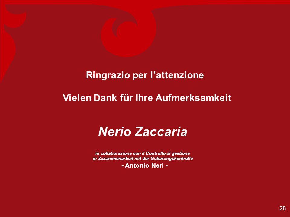 Ringrazio per l'attenzione Vielen Dank für Ihre Aufmerksamkeit Nerio Zaccaria in collaborazione con il Controllo di gestione in Zusammenarbeit mit der Gebarungskontrolle - Antonio Neri - 26