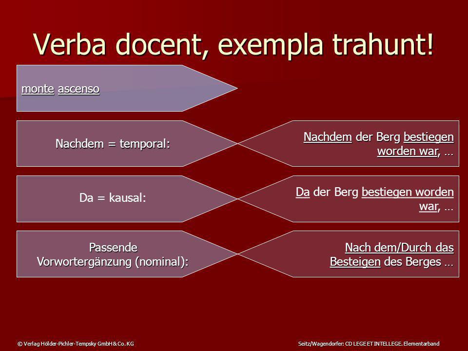 © Verlag Hölder-Pichler-Tempsky GmbH & Co. KG Seitz/Wagendorfer: CD LEGE ET INTELLEGE. Elementarband Verba docent, exempla trahunt! monte ascenso Nach