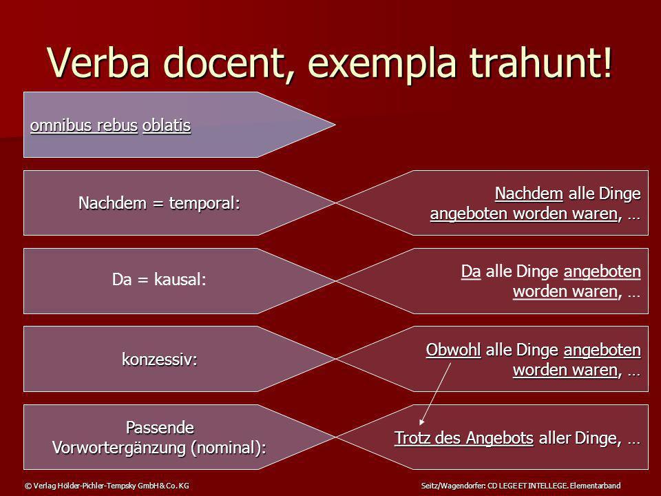 © Verlag Hölder-Pichler-Tempsky GmbH & Co. KG Seitz/Wagendorfer: CD LEGE ET INTELLEGE. Elementarband Verba docent, exempla trahunt! omnibus rebus obla