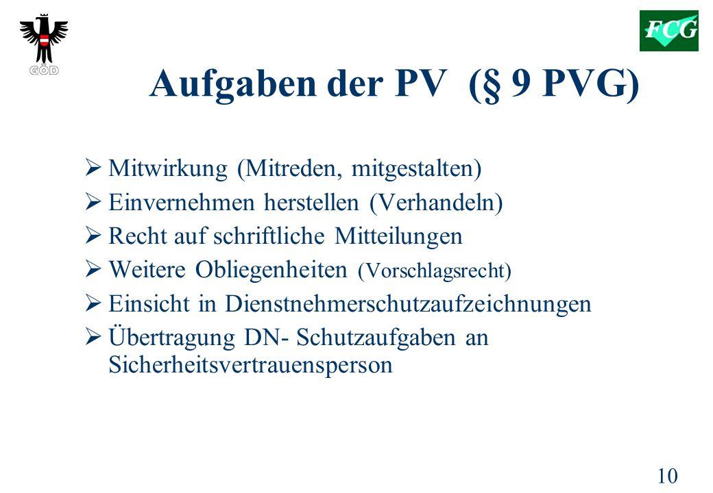 10 Aufgaben der PV (§ 9 PVG)  Mitwirkung (Mitreden, mitgestalten)  Einvernehmen herstellen (Verhandeln)  Recht auf schriftliche Mitteilungen  Weitere Obliegenheiten (Vorschlagsrecht)  Einsicht in Dienstnehmerschutzaufzeichnungen  Übertragung DN- Schutzaufgaben an Sicherheitsvertrauensperson