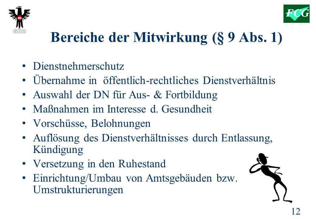 12 Bereiche der Mitwirkung (§ 9 Abs.