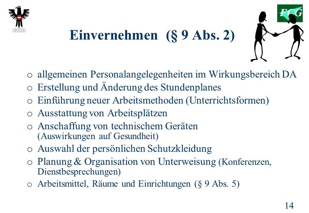 14 Einvernehmen (§ 9 Abs.