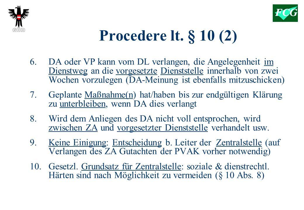 Procedere lt.§ 10 (2) 6.