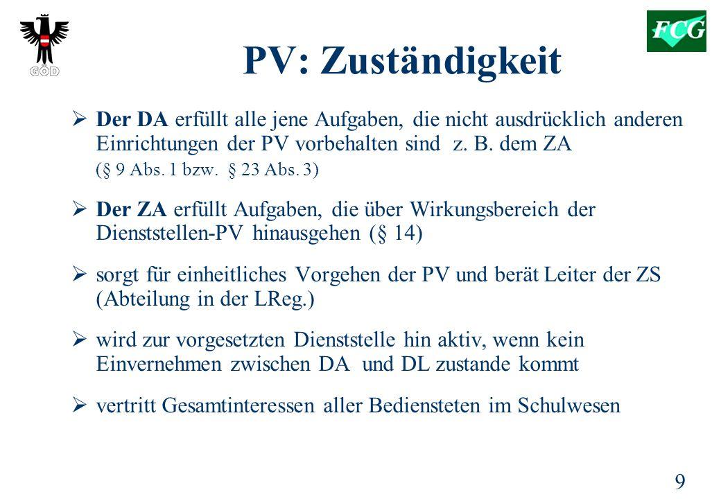 9 PV: Zuständigkeit  Der DA erfüllt alle jene Aufgaben, die nicht ausdrücklich anderen Einrichtungen der PV vorbehalten sind z.